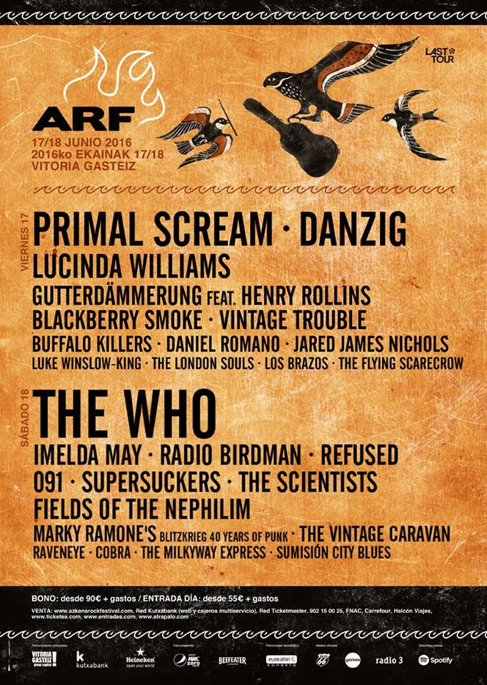 Azkena Rock Festival 17 y 18 de junio. Vitoria.