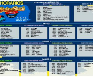 Horarios Weekend Beach 2017